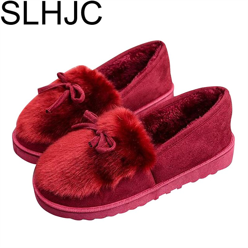 SLHJC 2017 Autumn Winter Flats Shoes Round Toe Fur Shoes Comfort Early Winter Flat Heel Slip On Home Shoes D25 slhjc 2017 autumn flat heel shoes pointed toe women flats with metal chain real fur loafers work shoes d25