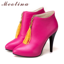 Meotina Women Ankle Boots Platform High Heels Fringe Boots Spring Pointed Toe Sexy Shoes 2018 Female Boot Big Size 46 Yellow