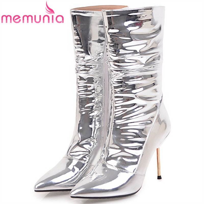 MEMUNIA silvery fashion women boots pointed toe zipper sexy ladies boots super high thin heel mid calf boots big size 32-43 fashion winter women short boots sexy pointed toe platform high heel shoes big size 32 46 solid pu ladies zipper ankle boots