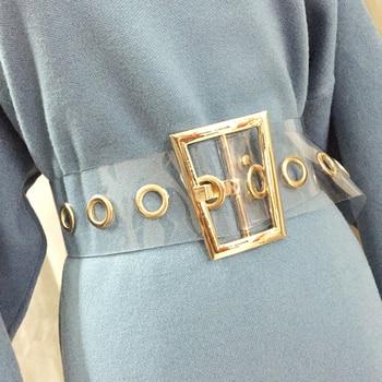 8fa210fd5d 2019 de moda trapezoidal de Metal de oro hebilla de cinturón ancho para  mujer de color transparente cinturón Jeans Mujer cintura cinturones
