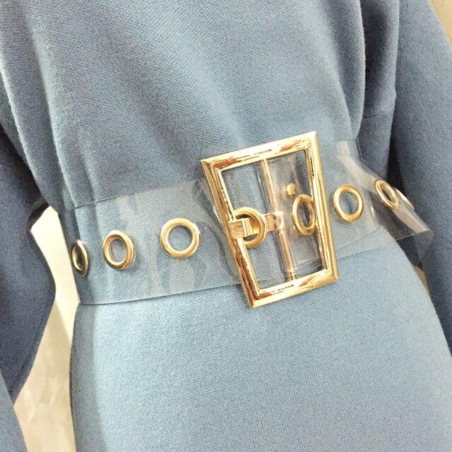 205dbdcd535de 2019 mode trapèze or métal boucle large taille ceinture pour femme couleur  transparente ceinture pour robe