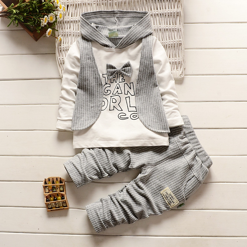 Infant Hooded Suits Long Sleeve Vest Shirt + Cotton Striped Pants Gentleman Bow Tie Kids Clothes Set Baby Boys Clothing Set 2018 new cotton baby boy clothes summer toddler boys striped rompers sunhat 2pcs clothing set gentleman suit kids clothes