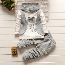 Infant Hooded Suits Long Sleeve Vest Shirt + Cotton Striped Pants Gentleman Bow Tie Kids Clothes Set Baby Boys Clothing Set цена