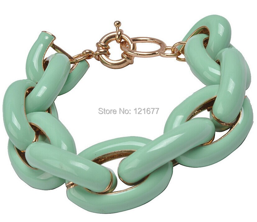 Fashion Personalized Metal Chain Bracelet Punk Street Candy Color Alloy Chain Bangle Vintage Accessories Bracelet Gift N0024