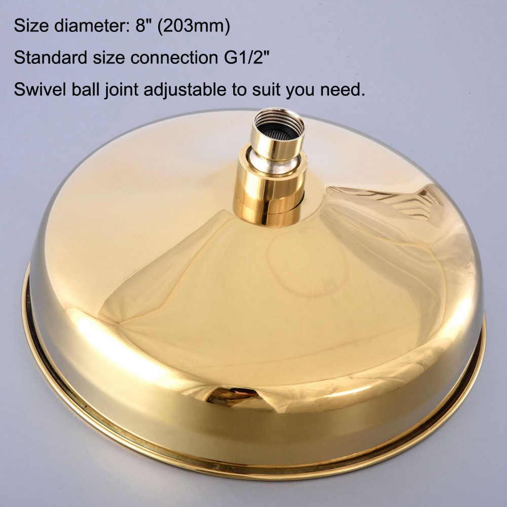 """8"""" inch Luxury Gold Color Brass Round Bath Rainfall Rain Bathroom Shower Head Bathroom Accessory (Standard 1/2"""") msh264"""