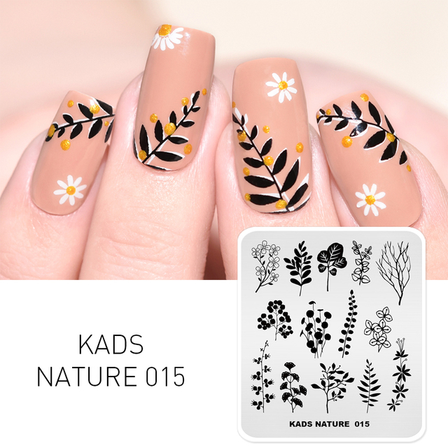 KADS Stamping Plate Nature 015 Leaves Plants Design Image Template Nail Stencil Templates Nail Mold Stencils for Nails