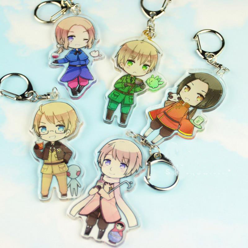 1 Pc new Pretty Anime Axis Power Hetalia Acrylic Keychains Bag Pendant Keyrings Cosplay Figure Toys for kids Gift image