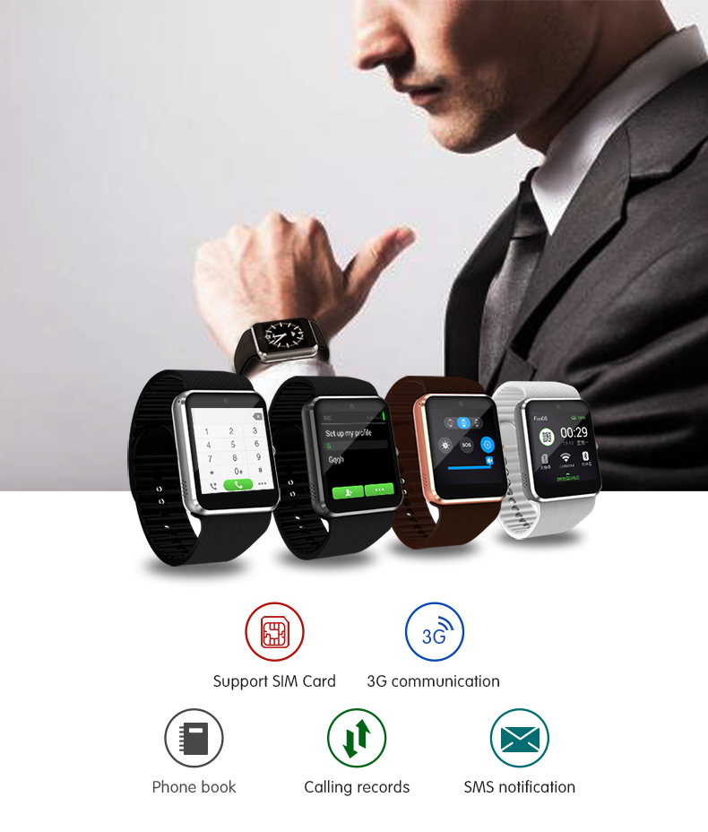 QW08 Android 4.4 1.54 inch 3G Smart Watch Phone MTK6572 1.2GHz Dual Core 512MB RAM 4GB ROM Bluetooth 4.0 SmartWatch Pk QW09 zgpax s5 watch smart phone dual core 1 54 inch capacitive touch screen android 4 0 512mb ram 4g rom 2mp camera with gps silver black