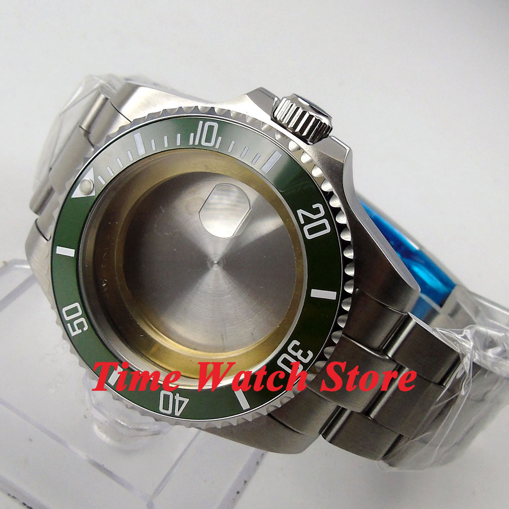 43mm green ceramic bezel Sapphire glass Watch Case with bracelet fit ETA 2824 2836 movement 64 цена и фото