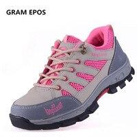 GRAM EPOS женский промышленность анти-пропустить Рабочая обувь со стальным носком; безопасные ботинки женщина открытый сайт инструмент bota защи...