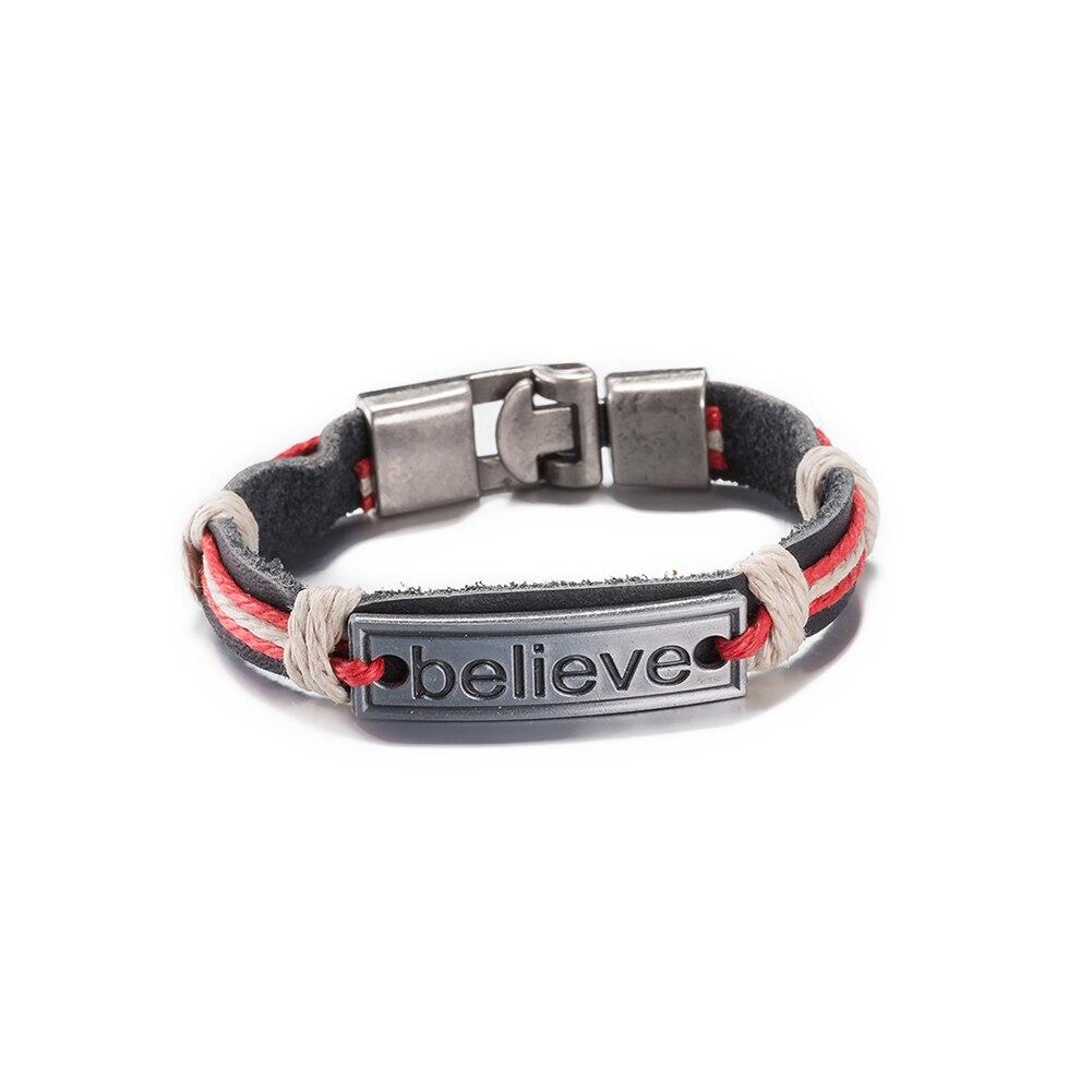Promotion Believe Letter Unisex Id Charm Bracelets Colorful Hemp Rope  Leather Faith Bracelet Simple Pulseira Jewelry