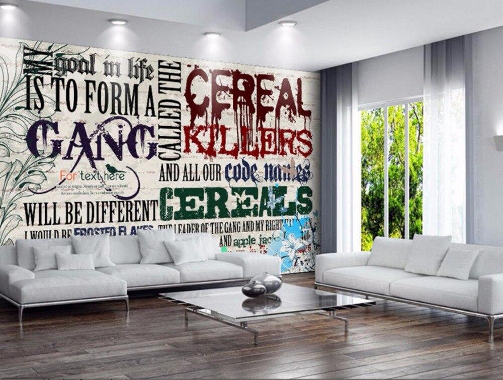 3D Wall paper Luxury Custom Retro nostalgia 3D Stereoscopic Wallpaper Kids room English alphabet TV Backdrop
