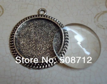 30sets Antique Silver 25mm Pendant Trays With Matching Glass Cabochons and Link or Ball Chains Choice of Colors