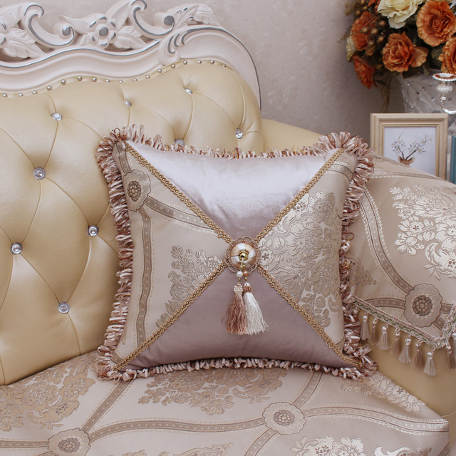 luxury decorative throw pillow case cover with beads european square Upscale Decorative Pillows
