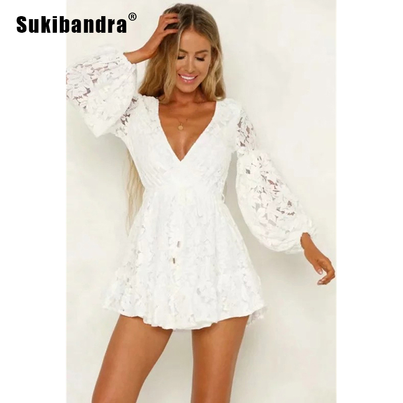 Sukibandra Summer Long Sleeve Deep V Neck White Women Lace Dress A Line Short Ladies Beach Boho Dress High Waist Casual Dresses