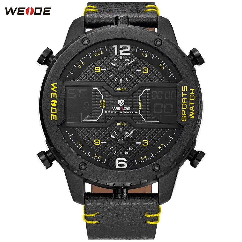 2018 WEIDE Luxury Brand Dress Watches Man Classic Fashion Leather Band Week Digital Quartz Watch Waterproof Wristwatch Relogios fashion dali brand leather leather watch luxury classic a6