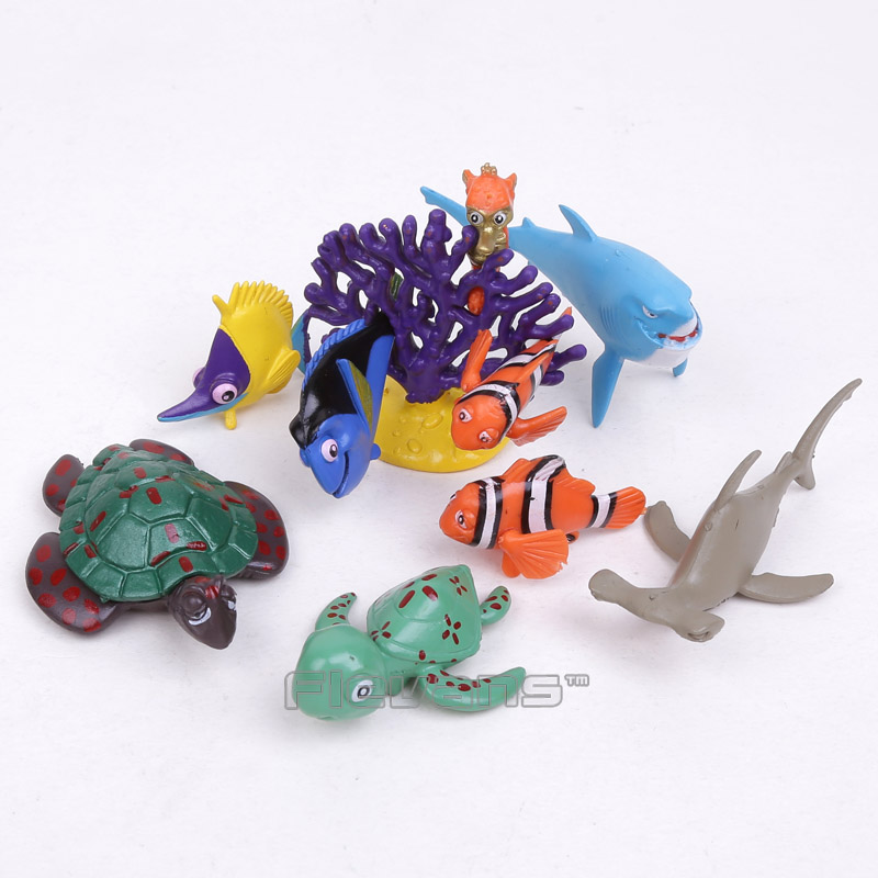 Cartoon Movie Finding Dory Nemo Marlin Bruce Nigel Crush Mini Clownfish PVC Figures Kids Toys 3~7cm