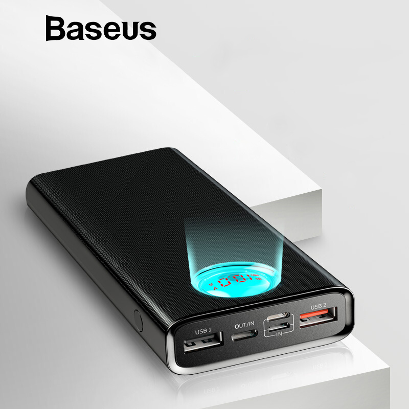 Baseus Quick Charge QC3.0 Power Bank 20000mAh Type C PD Fast Charging Powerbank Visible Real time Status External Battery Pack