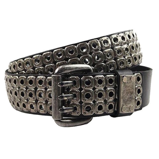 Famosa Marca Hombres Cinturón de cuero de Vaca Hecha A Mano Del Remache de Oro Genuino de Las Mujeres Cinturones de Cuero de Diseño Como Regalo libera el envío YH4030