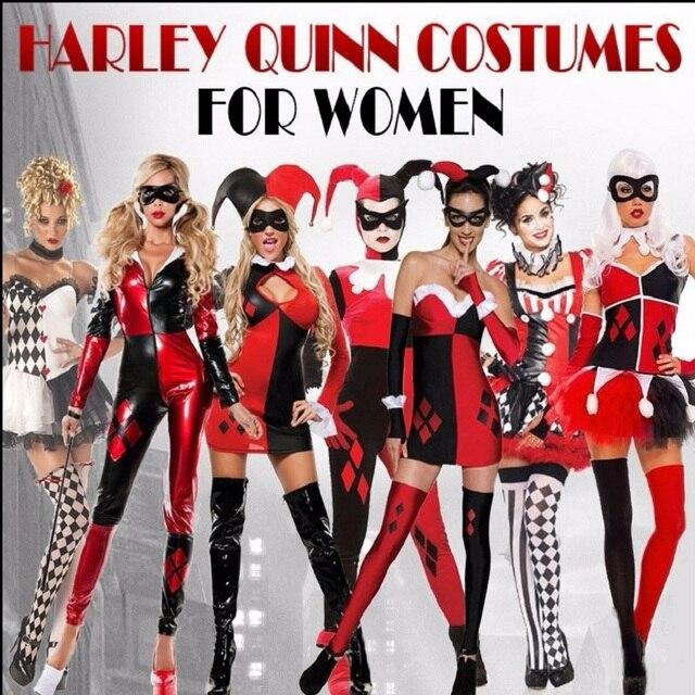 2018 Harley quinn disfraz mujer adulto sexy superhéroe payaso cosplay  Spandex body completo fiesta halloween Disfraces cf6297078a6a