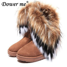 582d4abbf Fashion Fox Fur Warm Autumn Winter Wedges Snow Women Boots Shoes Lady Short  Boots Casual Long
