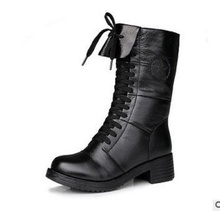 2016 New Women Buckle Winter Motorcycle Martin Boots British Style Gothic Punk Thick Warm Black Shoe Free Shipping  Size 35-40
