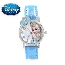 Disney Kids Watch Children Watch Princess Elsa Fashion Cute Wristwatches Girls Leather clock