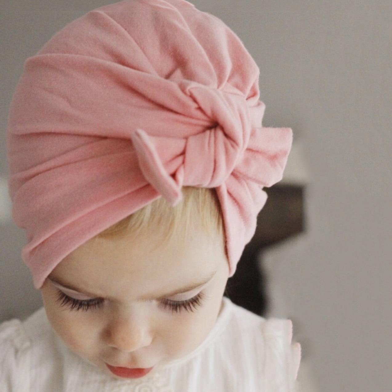Baby Turban Hat With Bow Children Hat Bandanas Cotton Blend Newborn Beanie Kids Baby Little Baby Headwrap Girl Hair Accessories