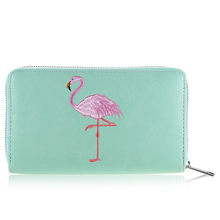 Women Flamingo Wallets Many Compartments Fashion Wallets High Quality Long Zippe Dollar Price Women Female Purse Wallets 500588