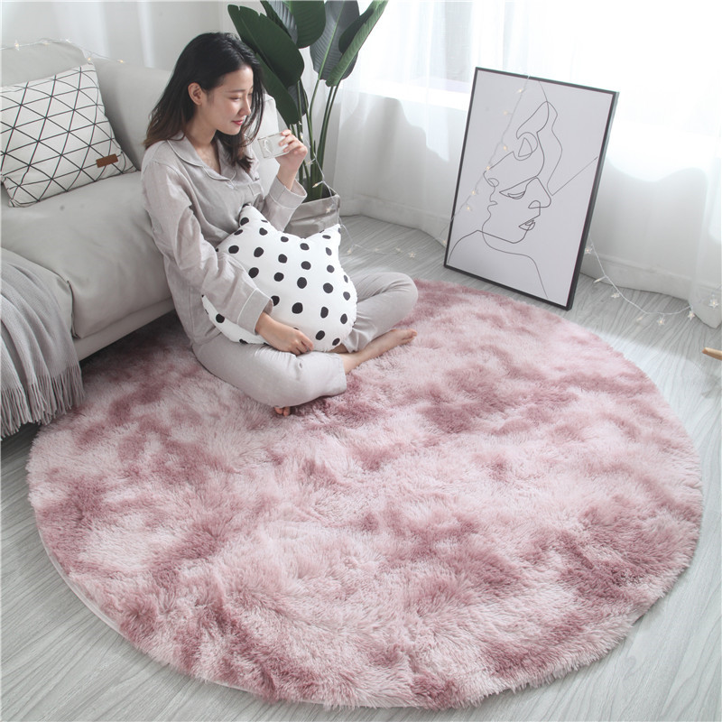 Nordic Ins Round Variegated Tie-dye Gradient Carpet Living Room Coffee Table Mat Long Hair Washable Bedroom Rug New Arrivals