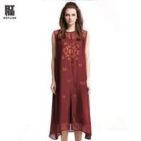 Outline Summer Women Dress Elegant Solid Sleeveless O neck Split Hem Loose Slim Dress Lady Long Silk Plus Size Vestidos L171Y004
