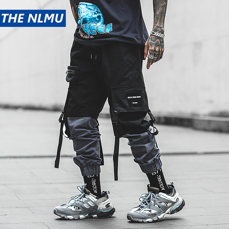 Hip Hop Pencil Pants Men Military Cargo Pants Streetwear Men Ankle-Length Pants 2019 Spring Mens Tactics Pant Ribbon HW124