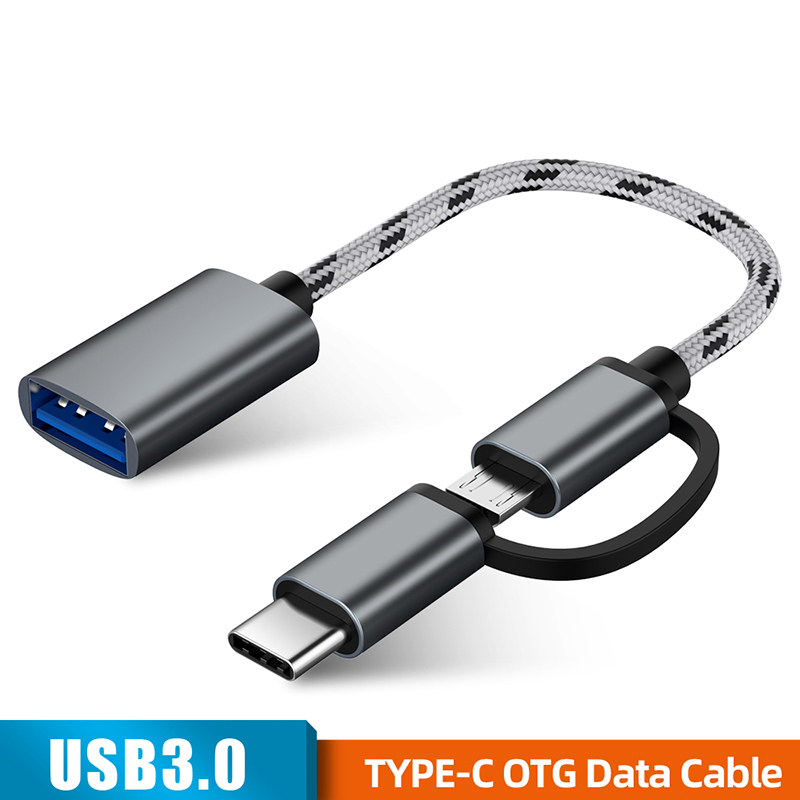 2 In 1 USB 3.0 OTG Adapter Cable For Samsung Nylon Braid Micro USB Type C Data Sync Adapter For Huawei Xiaomi For Type-C OTG