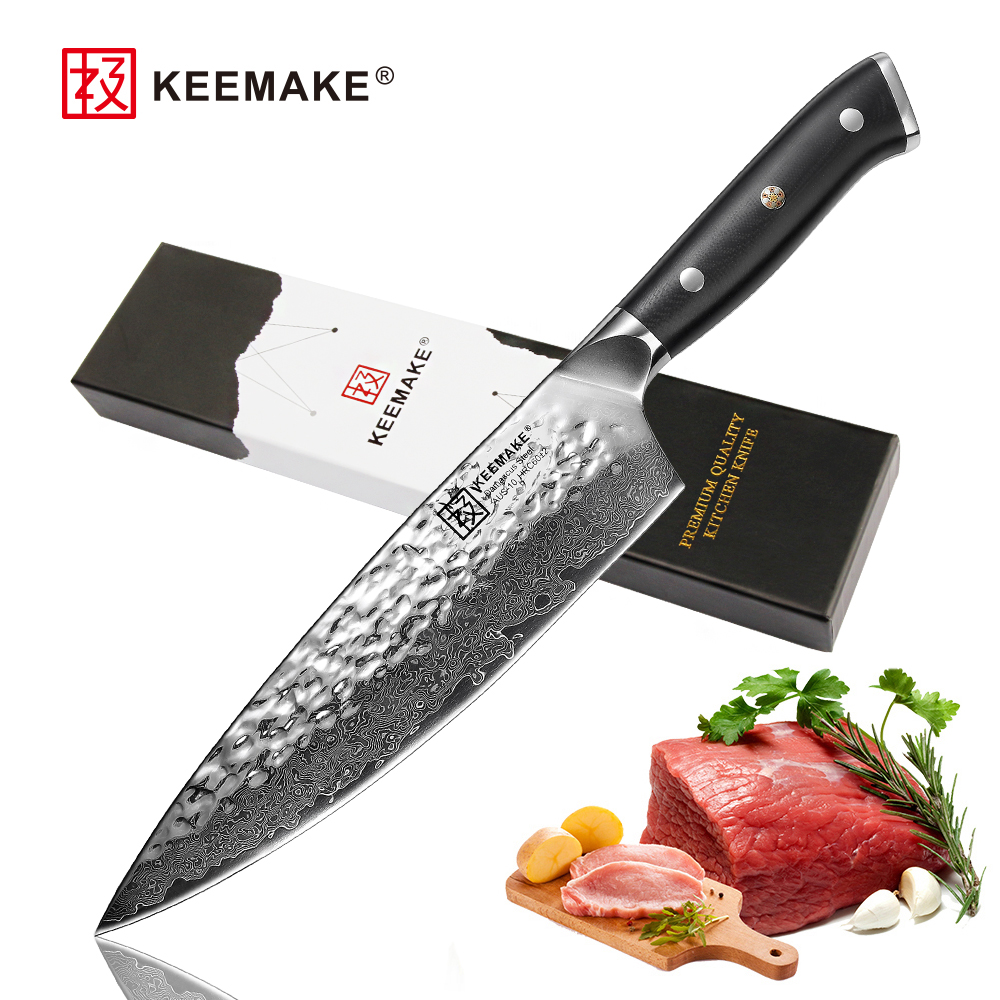2018 new SUNNECKO Professional 8 Chef Knife Damascus Steel Japanese VG10 Blade Kitchen Knives G10 Handle