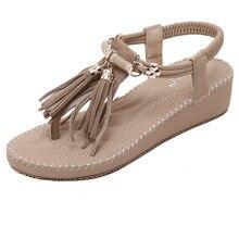 Buy Women Sandals Wedges Platform  Flat Fringed Casual Slides Summer  Fashion  Designer Shoes Women Luxury 2018 Roman-style directly from merchant!