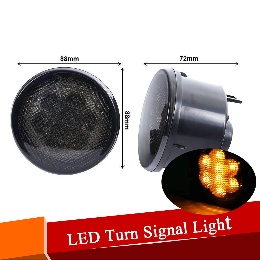 ФОТО Pair 2000k 0.1w x 8 LED Turn Signal Light Assembly with Smoke Lens for Jeep 07-16 Wrangler Indicator Lamp Side Maker Light