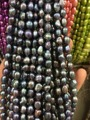 8-9mm Water Black blue Freshwater Cultured Pearl Flat  Loose Beads
