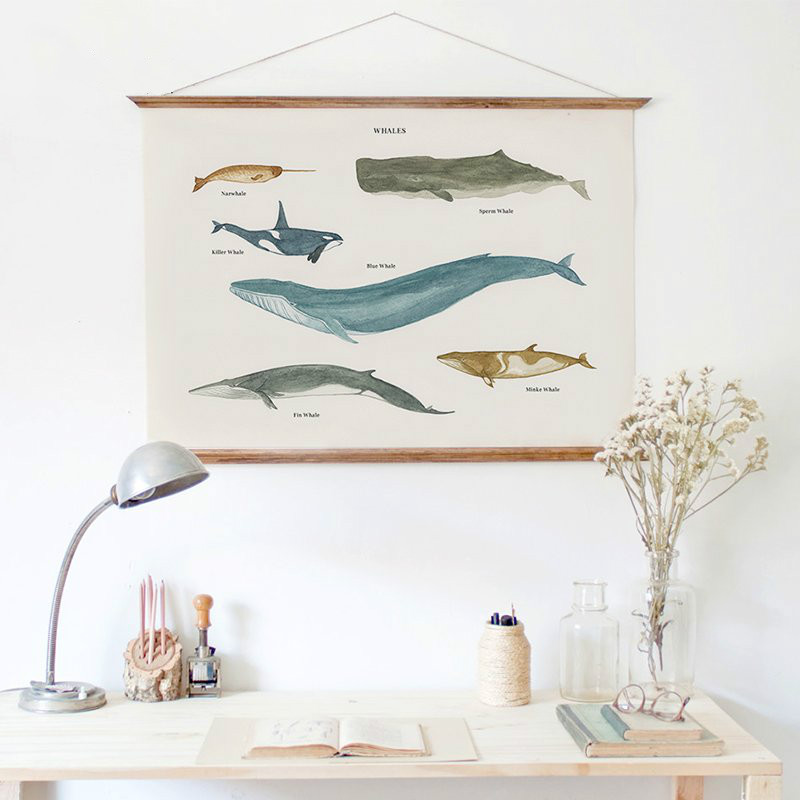 Modern Fresh Ocean Coastal Aquatic Whale Painting Wooden Poster ...
