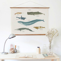 Modern Fresh Ocean Coastal Aquatic Whale Painting Wooden Poster Hanger Wall Decorative Poster Frame Scroll Hang Art Photo Prop