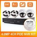 4CH Sistema POE NVR 4 UNIDS 4.0MP Cámara Domo IP 4MP Noche/día de Vigilancia NVR Kits, Hasta 4 TB, Panorama de 360 Grados Cámara de Visión