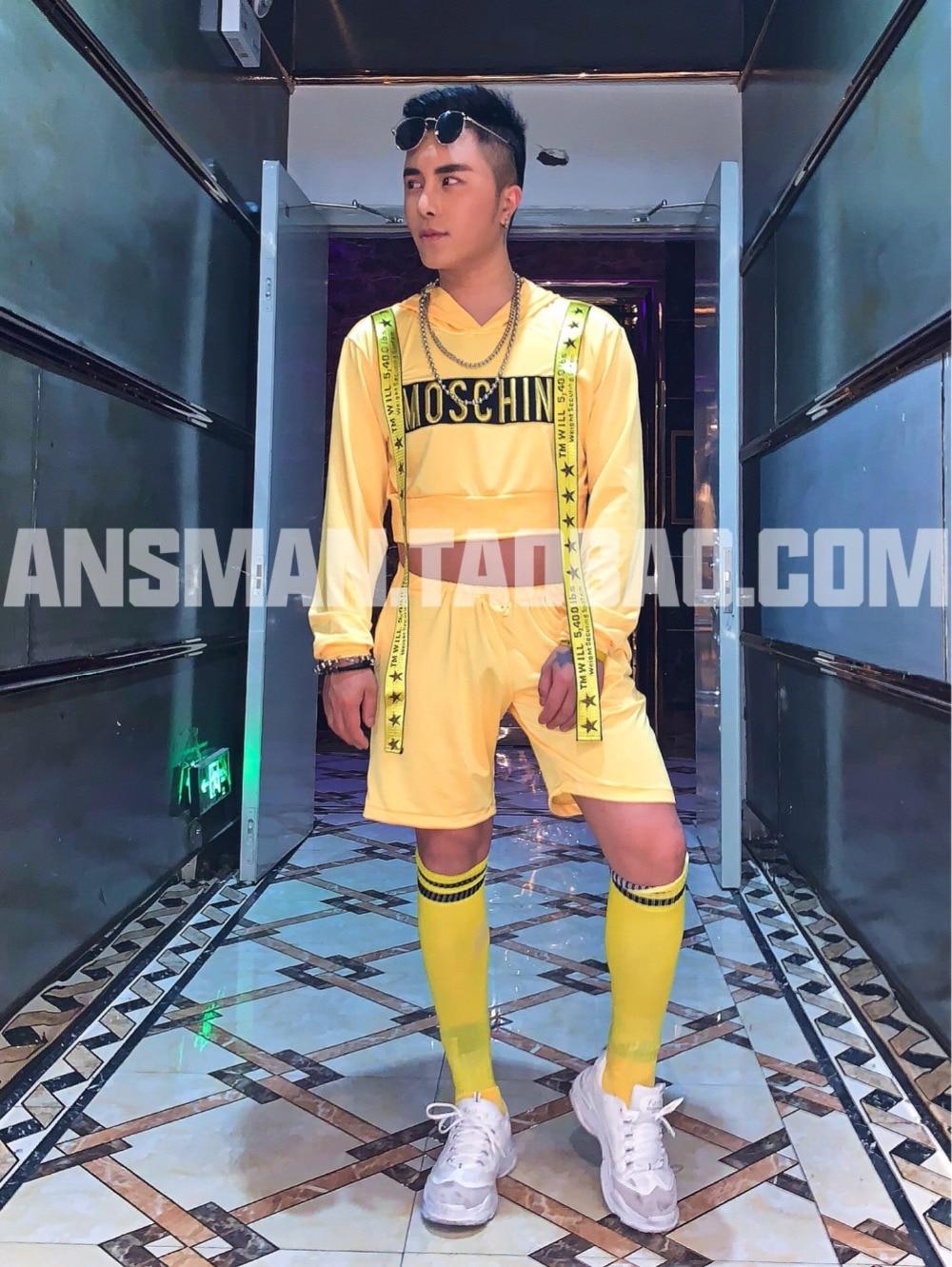 2019 nouveau mâle vêtements hommes chanteur DJ DS jaune hip hop à capuchon et shorts ensembles simple mode scène chanteur costume ensemble - 2
