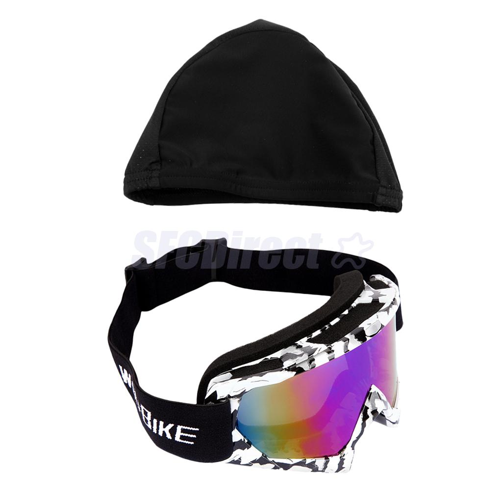 UV400 Protection Skiing Goggles Sports Snowboarding Motorcycle Anti-Fog Sunglasses + Quick-drying Cycling Skull Hat Helmet Liner