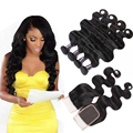 8A Brazilian Virgin Hair With Closure 3PCS Brazilian Body Wave Hair Bundles With 1PC Lace Closure 4x4 Part 100% Human Hair Weave