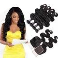 8A Cabelo Brasileiro Virgem Com Fechamento 3 PCS Cabelo Onda Do Corpo Brasileiro pacotes com 1 pc lace closure 4x4 parte 100% cabelo humano tecer