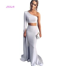 Light Gray Two Pieces Mermaid Evening Dresses 2019 One Shoulder Long Sleeves Satin Floor Length Prom Gowns Elegant Party