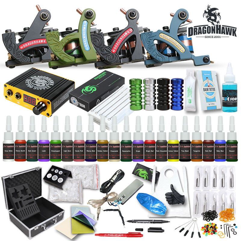 Professional Tattoo Kit  Machine Guns Inks Sets Steel Grips Tips With Disposable Needles Tattoo Power Box Supply starter tattoo kit 40 inks 2 machine guns grips needles tips power set equipment supplies for beginners usa warehouse k201i1