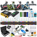 Professional Tattoo Kit  Machine Guns Inks Sets Steel Grips Tips With Disposable Needles Tattoo Power Box Supply