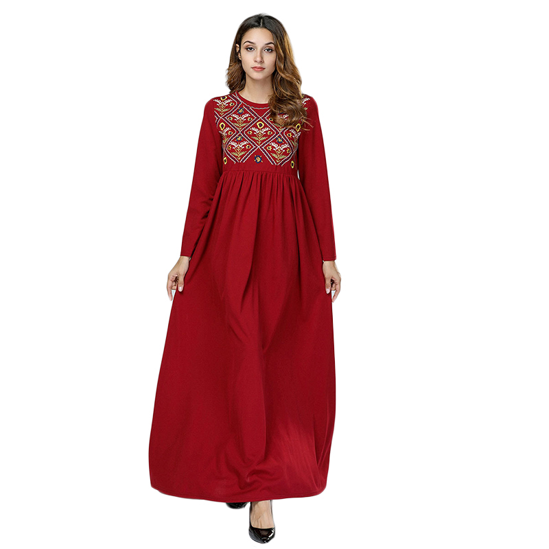 WHZHM Red Floral Plus Size 3XL 4XL Women Robe Party Dress Knitted Cotton Female Long Muslim