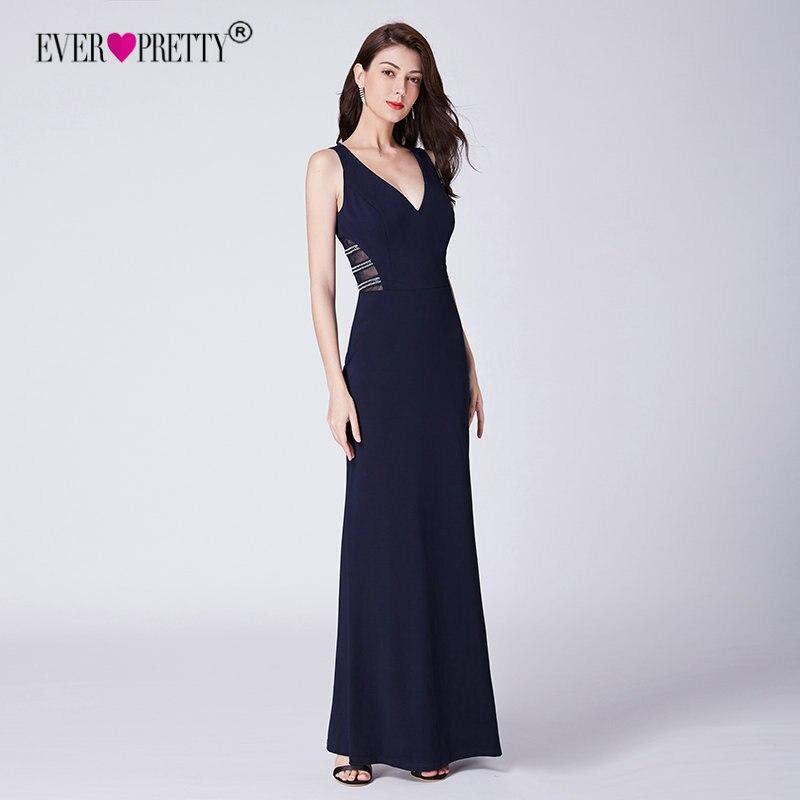 Халат De Soiree 2019 с тех Довольно EP07480NB новый элегантный Русалка V шеи Длинные вечерние синее платье Свадебные праздничные платья