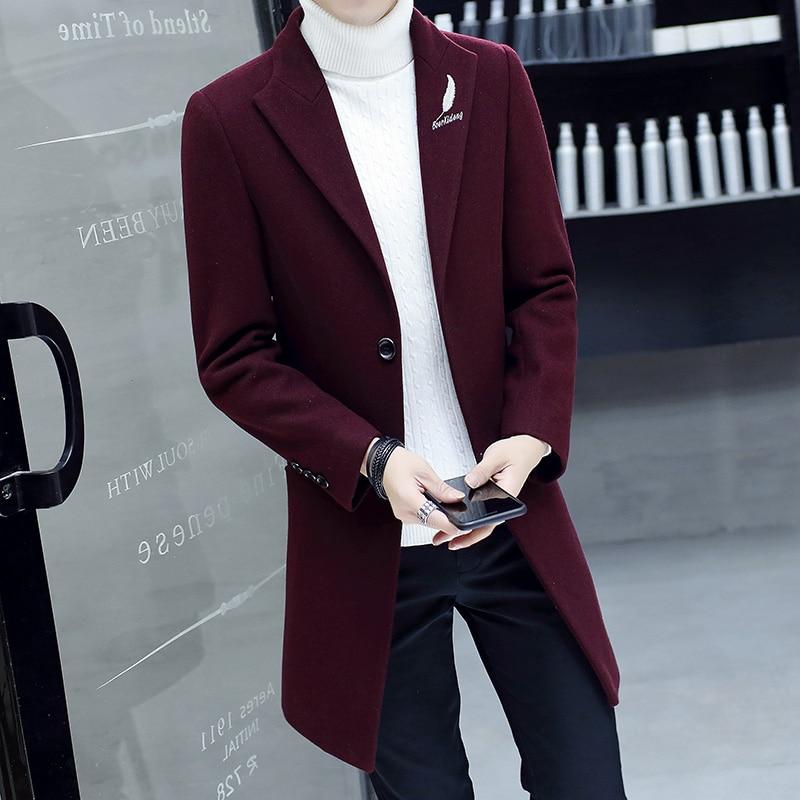 2018 Men Wool Long Jacket Coat , Mens Coats , Winter Mens Black Trench Jackets , Big Size Casual Lapel Burgundy Men's Jacket